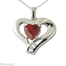 Carat tw in 10K White Gold Jp:19760 Created Ruby and Diamond Heart Pendant 1.41