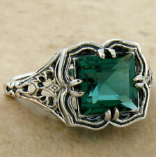 GREEN SIM EMERALD ANTIQUE FILIGREE DESIGN 925 STERLING SILVER RING SIZE 9,  #704