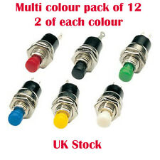 Miniature Push Button Switch Push To Make Point Motor Multi colour pack 12