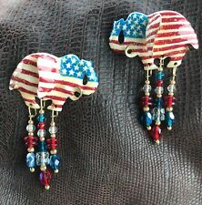 '88 Vintage Lunch At The Ritz USA Party Republican 4th July Red Blue Earrings JB