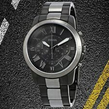 NWT +Box Fossil FS5269 Grant Sport Black Grey Stainless Steel 44mm TwoTone Watch