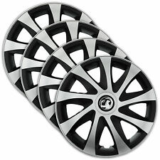 "Hub Caps 16"" VAUXHALL Astra Vectra Corsa 4x Wheel Trim Cover SILVER+BLACK DRACO"
