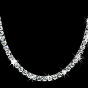 """925 Sterling Silver 42.5 Cts 5mm round Diamonds D/VVS1 Tennis Necklace 18"""""""