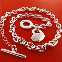 Necklace Chain Real 925 Sterling Silver S/F Solid Link Tbar Heart Pendant Design