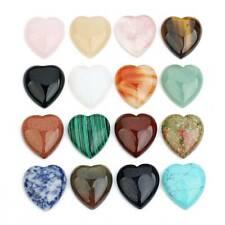 10pcs Heart Shape 10mm 25mm Natural Stone Cabochons Quartz Malachite Tiger' Eye