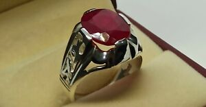 Deep Red Oval Cut Red Ruby Mens Ring Sterling Silver 925 Handmade Yakoot Ring