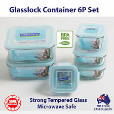 Glasslock 6P Tempered Glass Food Container Set Assorted Microwave Safe BPA FREE