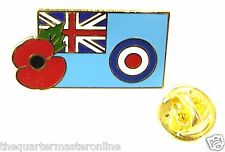 RAF Royal Air Force Ensign With Poppy Lapel Pin Badge