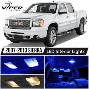 2007-2013 GMC Sierra 1500 2500 3500 Blue Interior LED Lights Package Kit