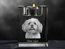 Lhasa Apso, crystal candlestick with dog, souvenir, Crystal Animals Usa