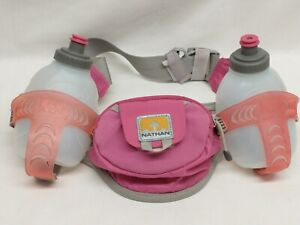 Nathan Water Hydration Running Hiking Belt 2 Bottles 10 Oz PINK Used Good Cond