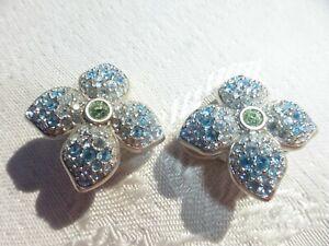 BEAUTIFUL Blue Green SWAROVSKI CRYSTAL Signed EARRINGS Flower Pattern AMAZING