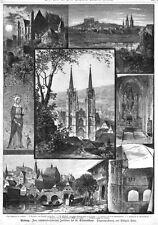 Marburg, Sammelblatt, Original-Holzstich von 1883