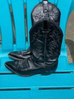 Justin Black All Leather Cowboy Western Boots Womens Size 6 B Style L4903