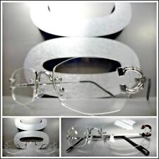 Classy Elegant Sophisticated Style Clear Lens EYE GLASSES Silver Rimless Frame