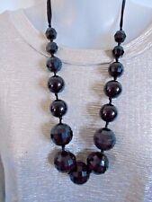 Black Acrylic Crystals on Ribbon Necklace