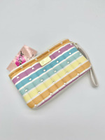 Luv Betsey Johnson Pastel Colored Striped,Hearts Double Pouch Wristlet FAST FREE