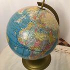 "Cram 12"" Vintage Scope-O-Sphere World Globe Geography Map Metal Base Cram's Blue"
