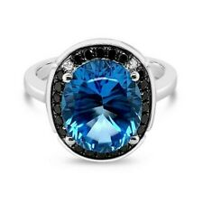 LeVian® Ring Blue Topaz Black Diamonds Vanilla Diamonds® 14K Vanilla Gold®