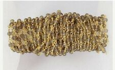 5 Feet AAA Smoky Quartz 3-4mm Rondelle Faceted 24k Gold Plated Beaded Chain