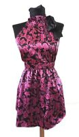 Guess Jeans Womens Tunic Top Magenta Swirly Floral Sleeveless Sz S UK10 Tie Neck