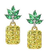 Earrings Pineapple Yellow Green Rhinestone Ella Jonte NEW