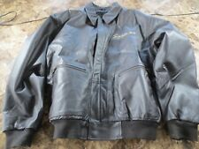 Snap On Tools Brown Leather Bomber Style Jacket with Quilted Lining - Large  #2
