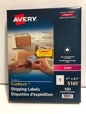 "AVERY 5165 TrueBlock 100x White 8.5""x11"" Laser Shipping Labels Box OPEN BOX"