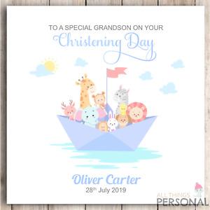 Personalised Boys Christening Card Godson Son Grandson Brother Nephew Congrats