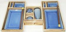 JAPANESE Ceramic Sushi AND Sake Plate Set - 11 Pieces serves 2 people - BLUE