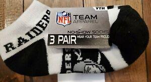 Oakland Raiders NFL Football Youth No Show Socks 3 pairs - Black / Gray / White