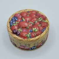 "Vintage Churchill's Candy Tin Embossed Strawberries Summer Berries 4"" Diameter"