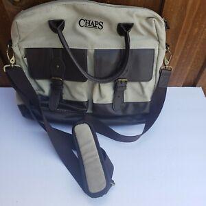 Chaps Elmhurst 16 Briefcase Beige Brown VINTAGE $220 - Very Good Condition