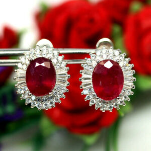 NATURAL 7 X 9mm. RED RUBY & WHITE CZ EARRINGS 925 SILVER STERLING