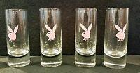 "Set of 4 Pink Playboy Bunny Shot Vodka Glasses glass lot 4"" tall"