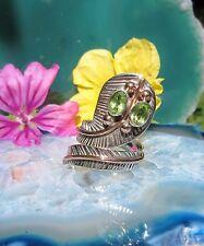 Ring Kobra Schlange Sterling Silber 925 mit Augen aus Peridot grün
