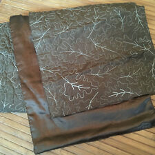 Tag Table Runner sparkle Satin Brown Gold emroidery Leaves 13 x 89 inches 7 ft