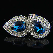 18k white Gold plated with Swarovski elements blue crystals teardrop earrings