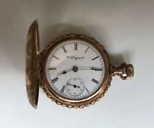 Gold Filled Women's Elgin Full Hunter Engraved Pocket Watch c1900