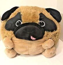 "American Mills Squishable Pug Dog Large 15"" Plush Round Pillow Tan Retired EUC"