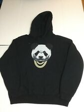 BOWERY SUPPLY CO Black Lng Sleeve Gold Chain Panda Graphic Hoodie Sweatshirt  L