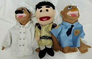 THREE Hand Puppets 2 Melissa & Doug Police & Chef + One Unknown Maker no sticks