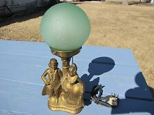 ANTIQUE GEORGE MARTHA WASHINGTON LAMP LIGHT W/ GREEN GLASS SHADE WORKING
