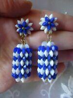 "GT Vintage Plastic Blue and White Festive Flowers Clip On Drop Earrings 2"" Long"
