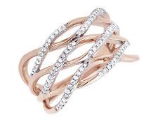 10k Rose Gold Wave Style Strand Diamond Engagement Wedding Fashion Ring 0.25Ct