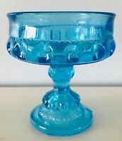 "Vintage Fenton Moon Design Glass Candy Dish on Pedestal Colonial Blue 5.25"" tall"