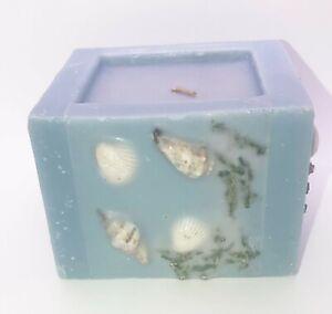 "Candle Square Wax w/ Embedded Sea Shells & Sea Grass 4 ' W x 2 3/4 "" H"