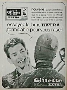PUBLICITÉ DE PRESSE 1963 LAMES GILLETTE BLEUE EXTRA POUR VOUS RASER - SKIEUR