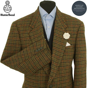 Harris Tweed Jacket Blazer 42R Country Windowpane Check Weave Hacking Hunting