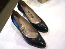 Thos Cort Ltd. black leather shoes pumps heels, vintage, sz. 6 D, c. 1950s